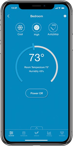 Control your air conditioner from anywhere, anytime, using the Cielo Home app on your smartphone.