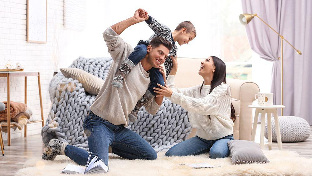 A happy family enjoying winter season